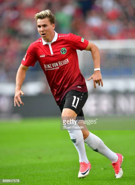 Felix Klaus of Hannover in action during the Bundesliga match between Hannover 96 and FC Schalke 04 at HDIArena on August 27 2017 in Hanover Germany