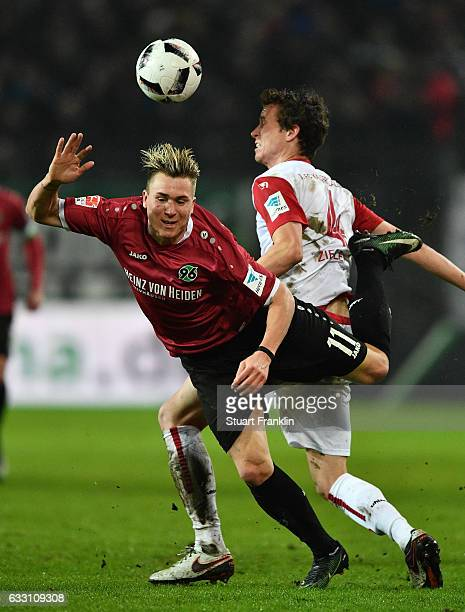 Felix Klaus of Hannover is challenged by Patrick Ziegler of Kaiserslautern during the Second Bundesliga match between Hannover 96 and 1 FC...
