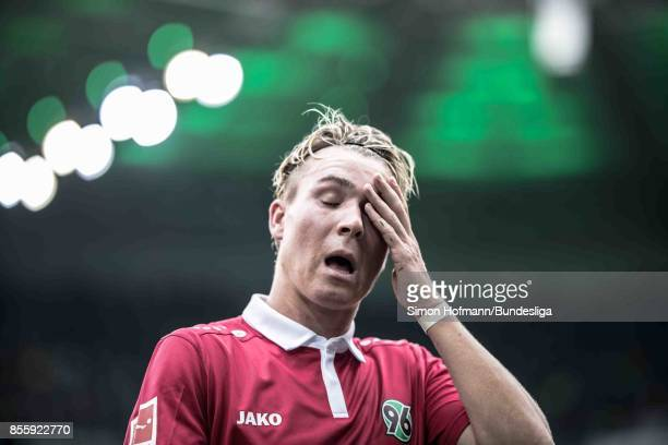 Felix Klaus of Hannover is disappointed during the Bundesliga match between Borussia Moenchengladbach and Hannover 96 at BorussiaPark on September 30...