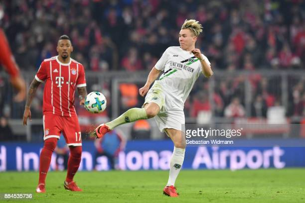 Felix Klaus of Hannover plays the ball during the Bundesliga match between FC Bayern Muenchen and Hannover 96 at Allianz Arena on December 2 2017 in...