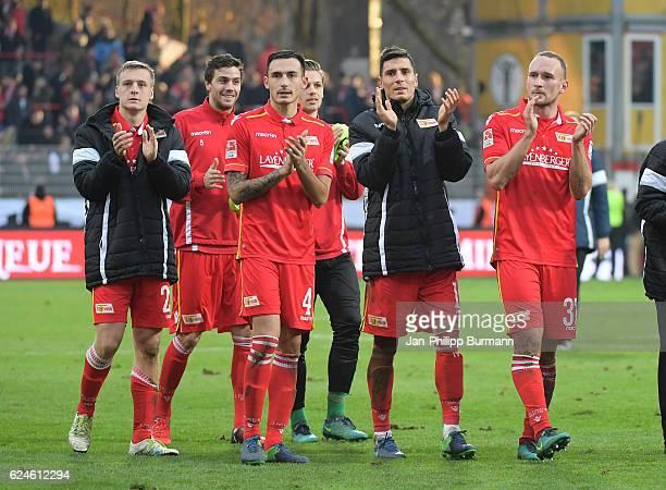 Felix Kroos Benjamin Kessel Roberto Puncec Daniel Mesenhoeler Damir Kreilach and Toni Leistner of 1 FC Union Berlin during the game between dem 1 FC...