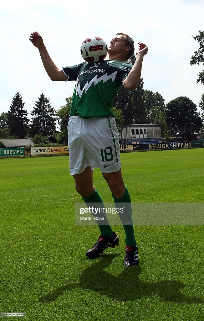 Felix Kroos new player of Bremen stops the ball during the Werder Bremen first training session for the upcoming season 2010/2011 at Sportplatz 11 on...