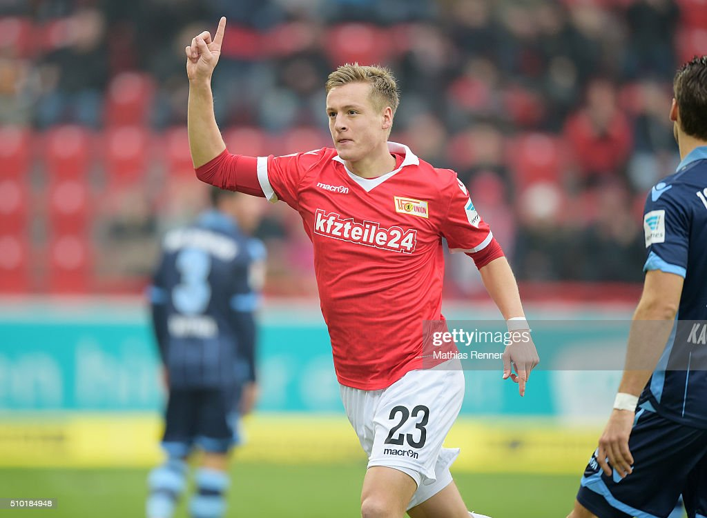 Felix Kroos of 1 FC Union Berlin during the game between Union Berlin and TSV 1860 Muenchen on february 14 2016 in Berlin Germany