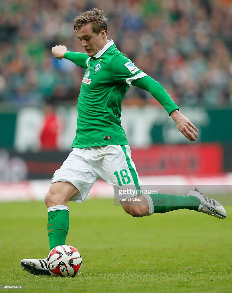 Felix Kroos of Bremen controls the ball during the Bundesliga match between SV Werder Bremen and FC Augsburg at Weserstadion on February 14 2015 in...