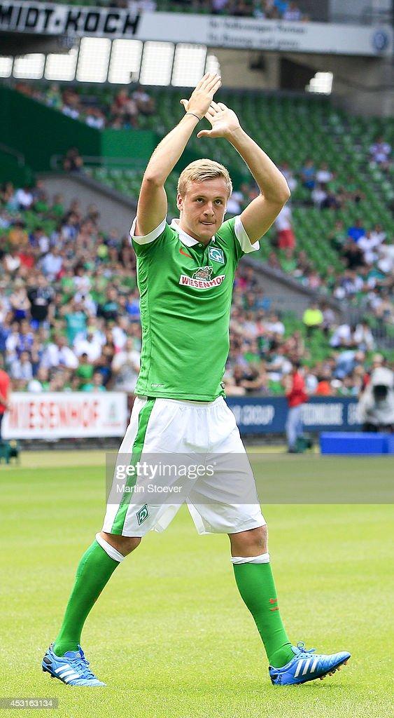 Felix Kroos of Bremen during the pre season friendly match between SV Werder Bremen and FC Chelsea at Weserstadion on August 3 2014 in Bremen Germany