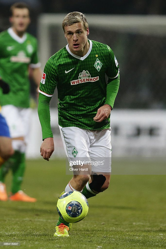 Felix Kroos of Bremen in action during the Bundesliga match between Werder Bremen and Eintracht Braunschweig at Weserstadion on January 26 2014 in...