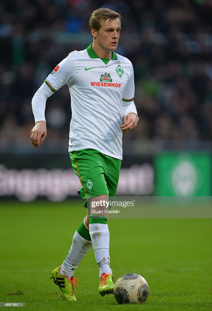 Felix Kroos of Bremen in action during the Bundesliga match between Werder Bremen and Borussia Moenchengladbach at Weserstadion on February 15 2014...