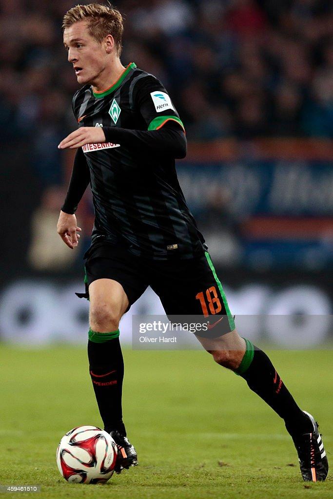 Felix Kroos of Bremen in action during the First Bundesliga match between Hamburger SV and SV Werder Bremen at Imtech Arena on November 23 2014 in...