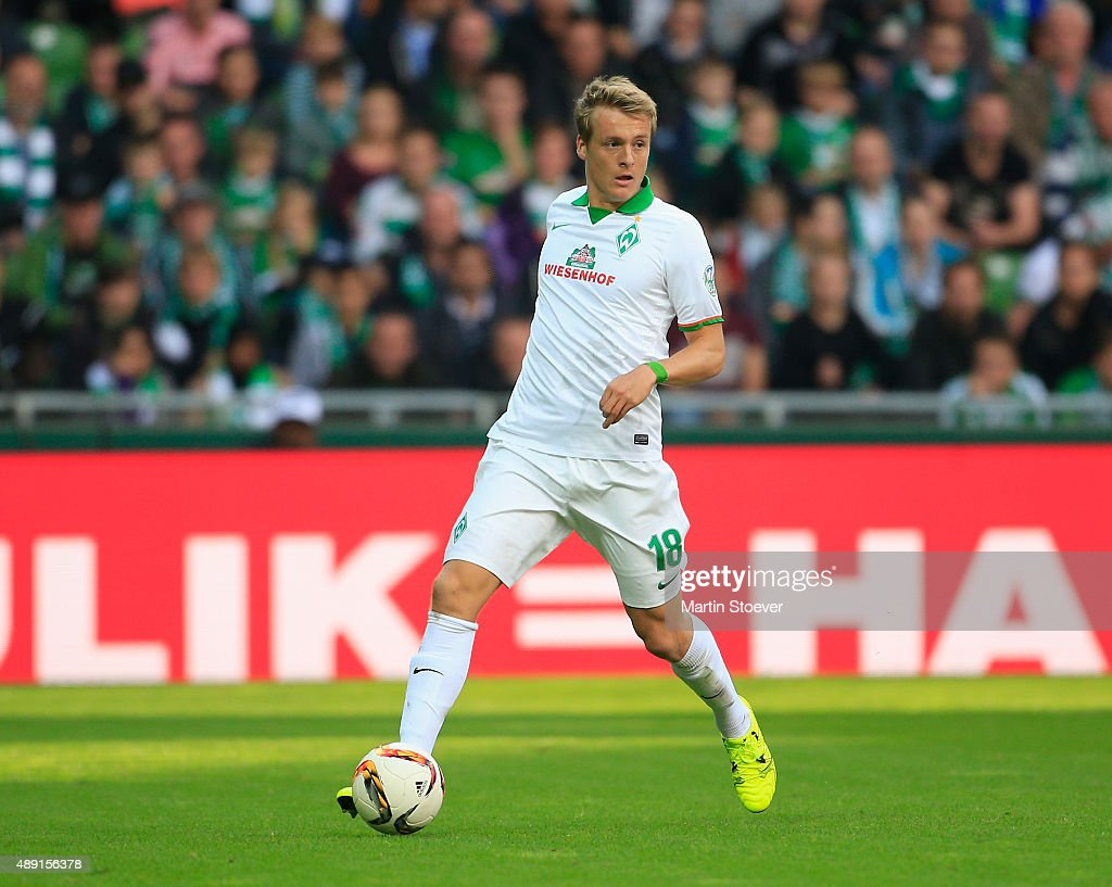 Felix Kroos of Bremen plays the ball during the Bundesliga match between Werder Bremen and FC Ingolstadt at Weserstadion on September 19 2015 in...