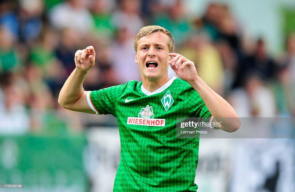 Felix Kroos of Bremen reacts during a preseason friendly match between SV Werder Bremen and TSV 1860 Muenchen on July 10 2013 in Zell am Ziller...