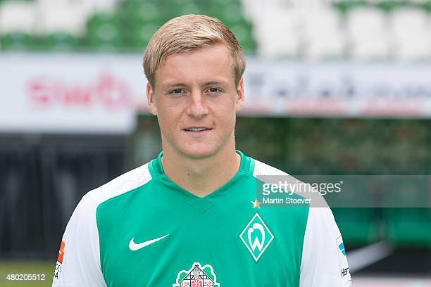 Felix Kroos poses during the official team presentation of Werder Bremen at Weserstadion on July 10 2015 in Bremen Germany