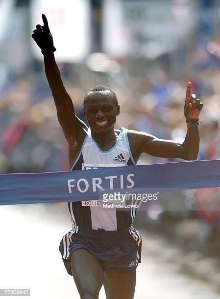 Felix Limo of Kenya celebrates winning during the Rotterdam Marathon on April 4 2004 in Rotterdam Netherland