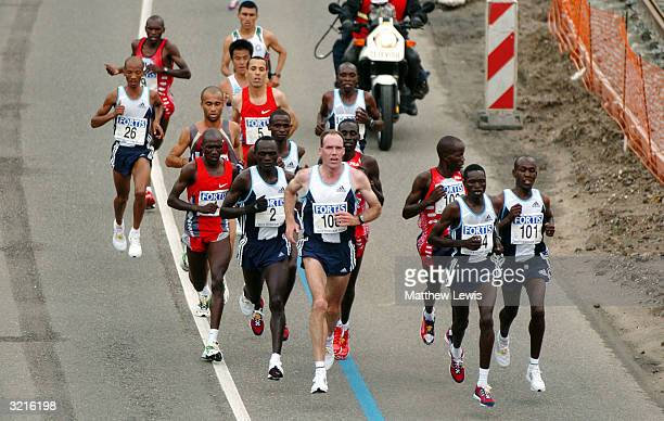 Felix Limo of Kenya stays with the front runners during the Rotterdam Marathon on April 4 2004 in Rotterdam Netherland