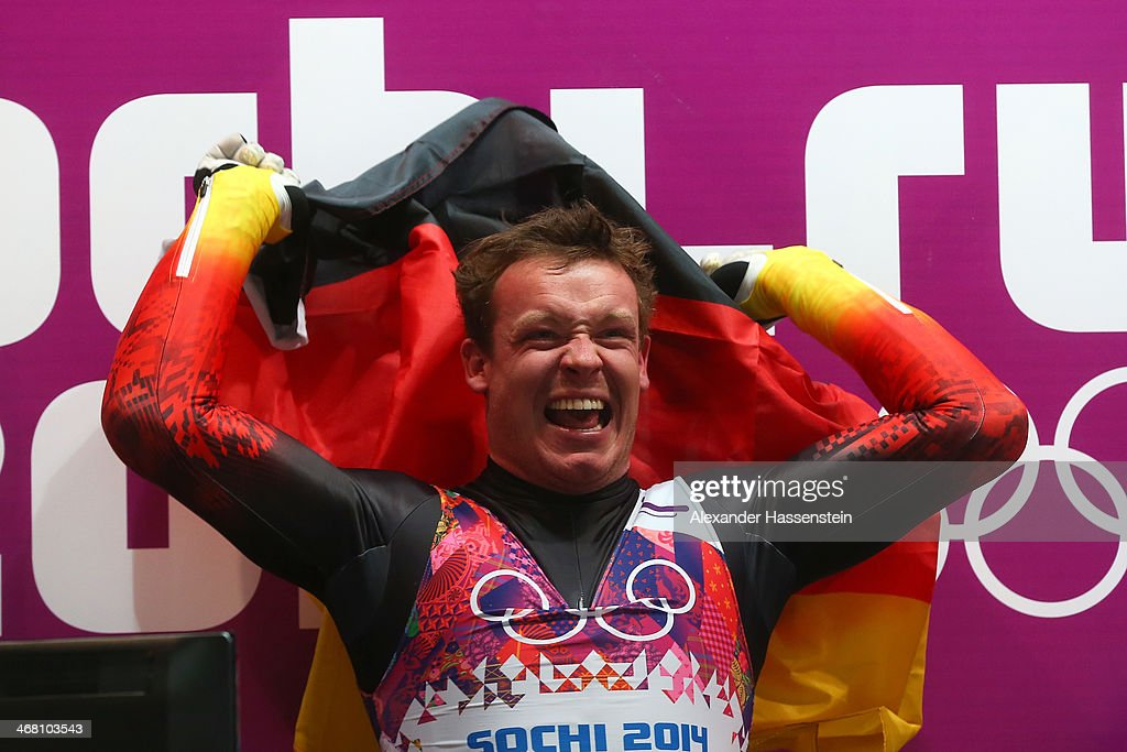 <a gi-track='captionPersonalityLinkClicked' href=/galleries/search?phrase=Felix+Loch&family=editorial&specificpeople=4840944 ng-click='$event.stopPropagation()'>Felix Loch</a> of Germany celebrates winning the gold medal during the Men's Luge Singles on Day 2 of the Sochi 2014 Winter Olympics at Sliding Center Sanki on February 9, 2014 in Sochi, Russia.