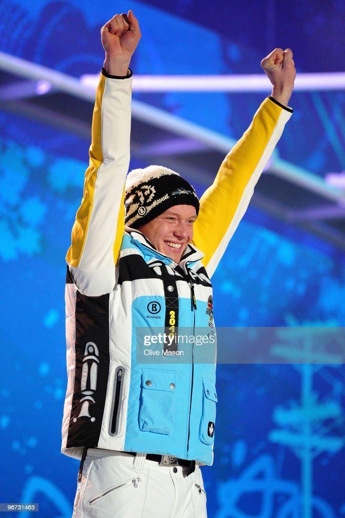Felix Loch of Germany celebrates with the gold medal during the medal ceremony for the men�s luge singles at Whistler Medal Plaza on day 4 of the 2010 Winter Olympics on February 15, 2010 in Whistler, Canada.