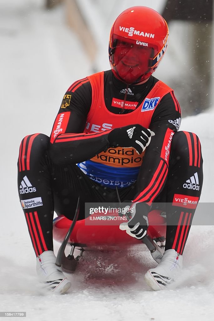 Felix Loch of Germany competes at the Luge World Cup Man competition on December 16 , 2012 in Sigulda, Latvia, some 50 km northeast of Riga. Loch finished in third place.