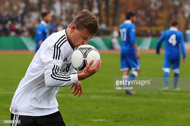 Felix Lohkemper of Germany celebrates his team's third goal during the U18 international friendly match between Germany and Italy at Sportpark on...