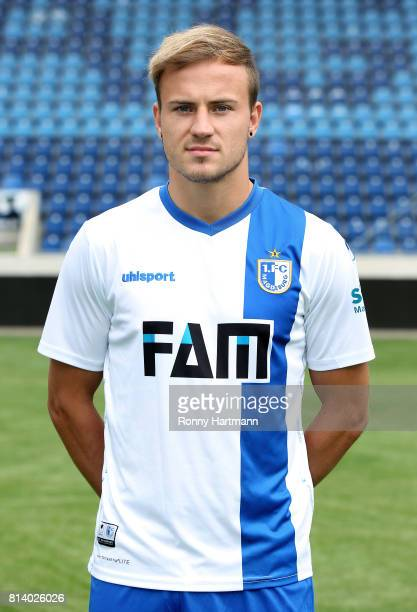 Felix Lohkemper poses during the team presentation of 1 FC Magdeburg at MDCCArena on July 13 2017 in Magdeburg Germany
