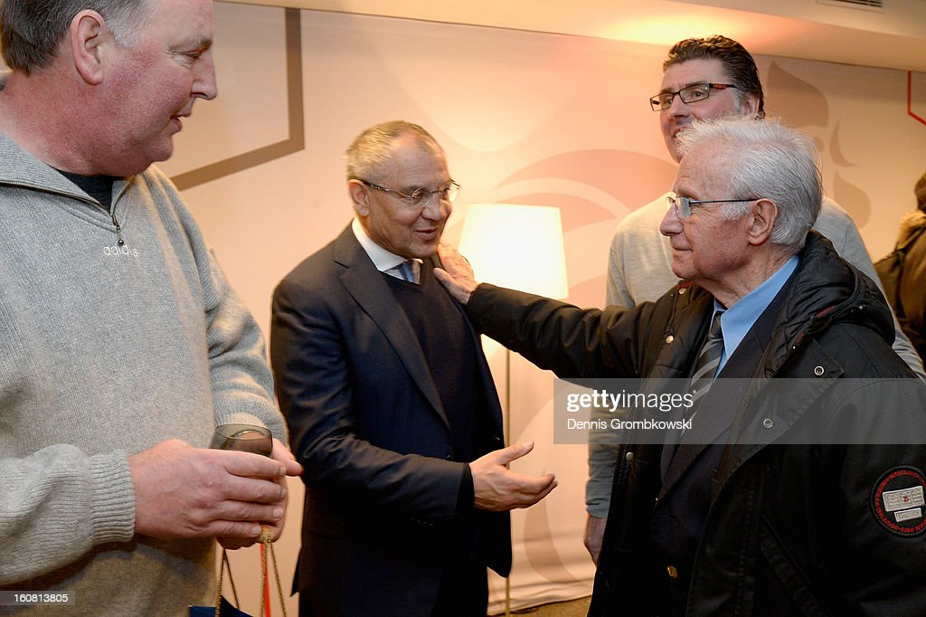 Felix Magath of Germany and former french head coach Michel Hidalgo exchange words during a meeting of the 1982 World Cup teams of France and Germany on February 6, 2013 in Paris, France.