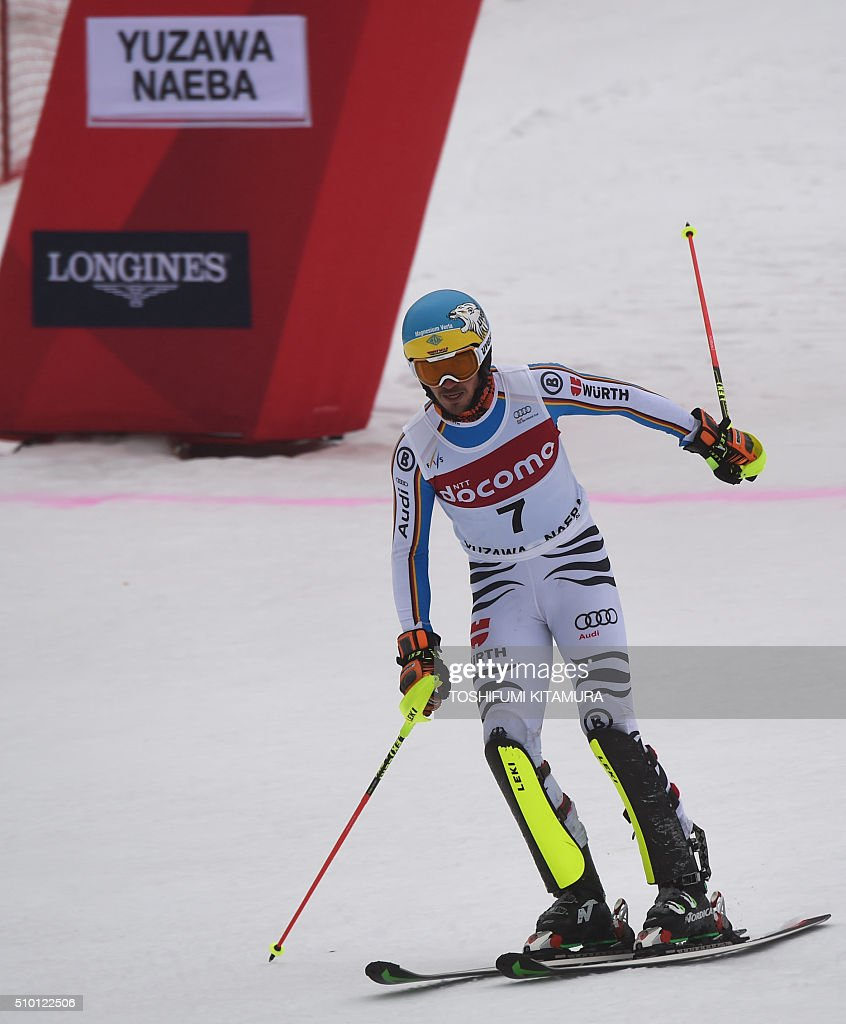 Felix Neureuter of Germany crosses the finish line during his second run of the 8th men's slalom competition in the FIS Ski World Cup 2015/2016 at the Naeba ski resort in Yuzawa town, Niigata prefecture on February 14, 2016. AFP PHOTO / TOSHIFUMI KITAMURA / AFP / TOSHIFUMI KITAMURA
