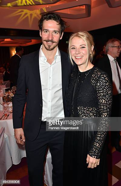 Felix Neureuther and his girlfriend Miriam Goessner attend the Felix Friends for Kids charity gala at Hotel Vier Jahreszeiten on October 26 2015 in...