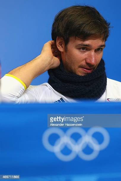 Felix Neureuther looks on during the German Alpine Team press conference at the Gorki Press Centre in the Rosa Khutor Mountain Cluster on February 16...