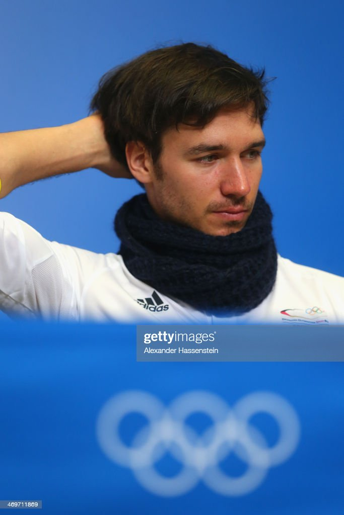 <a gi-track='captionPersonalityLinkClicked' href=/galleries/search?phrase=Felix+Neureuther&family=editorial&specificpeople=807800 ng-click='$event.stopPropagation()'>Felix Neureuther</a> looks on during the German Alpine Team press conference at the Gorki Press Centre in the Rosa Khutor Mountain Cluster on February 16, 2014 in Sochi, Russia.