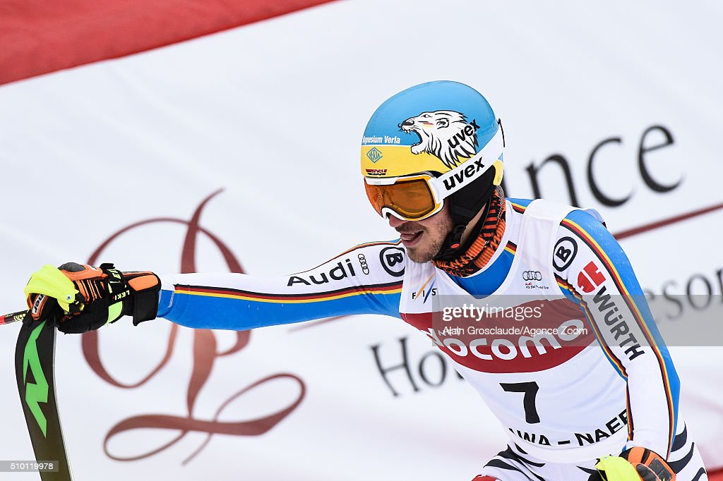 <a gi-track='captionPersonalityLinkClicked' href=/galleries/search?phrase=Felix+Neureuther&family=editorial&specificpeople=807800 ng-click='$event.stopPropagation()'>Felix Neureuther</a> of Germany celebrates during the Audi FIS Alpine Ski World Cup Men's Slalom on February 14, 2016 in Naeba, Japan.