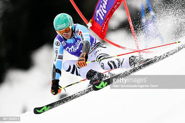 Felix Neureuther of Germany competes during the Audi FIS Alpine Ski World Cup Men's Giant Slalom on January 10 2015 in Adelboden Switzerland
