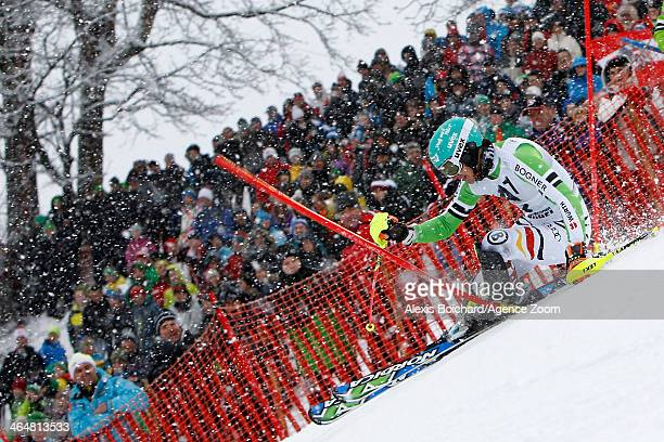 Felix Neureuther of Germany competes during the Audi FIS Alpine Ski World Cup Men's Slalom on January 24 2014 in Kitzbuehel Austria