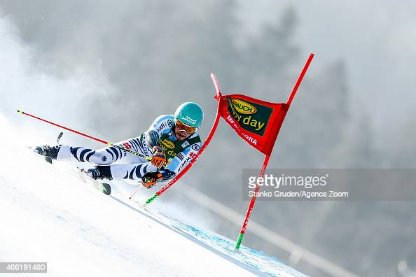 Felix Neureuther of Germany competes during the Audi FIS Alpine Ski World Cup Men's Giant Slalom on March 14 2015 in Kranjska Gora Slovenia