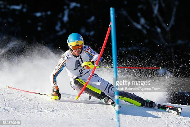Felix Neureuther of Germany competes during the Audi FIS Alpine Ski World Cup Men's Slalom on January 22 2017 in Kitzbuehel Austria