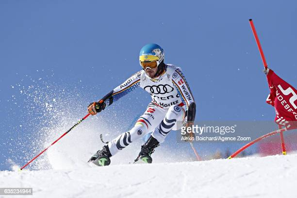 Felix Neureuther of Germany competes during the FIS Alpine Ski World Championships Nation Team Event on February 14 2017 in St Moritz Switzerland