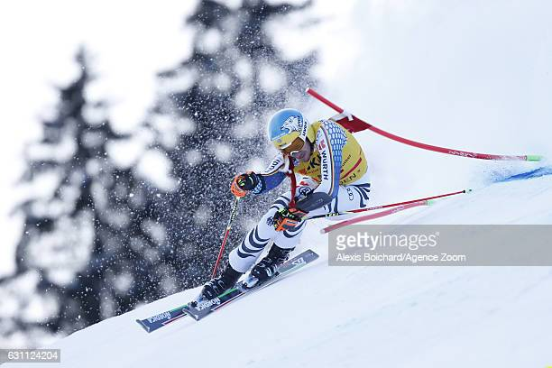 Felix Neureuther of Germany in action during the Audi FIS Alpine Ski World Cup Men's Giant Slalom on January 07 2017 in Adelboden Switzerland