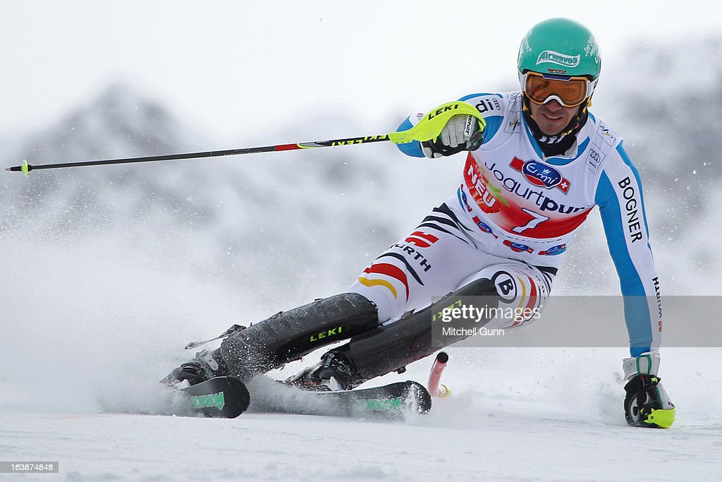 Felix Neureuther of Germany races down the course competing in the Audi FIS Alpine Skiing World Cup Finals slalom race on March 17, 2013 in Lenzerheide, Switzerland,