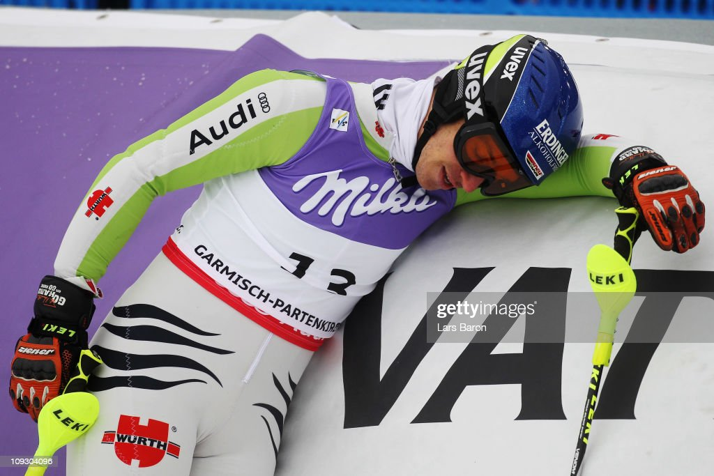 <a gi-track='captionPersonalityLinkClicked' href=/galleries/search?phrase=Felix+Neureuther&family=editorial&specificpeople=807800 ng-click='$event.stopPropagation()'>Felix Neureuther</a> of Germany reacts in the finish area after skiing in the Men's Slalom during the Alpine FIS Ski World Championships on the Gudiberg course on February 20, 2011 in Garmisch-Partenkirchen, Germany.
