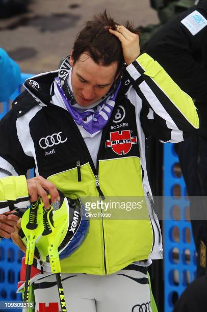 Felix Neureuther of Germany reacts in the finish area after skiing in the Men's Slalom during the Alpine FIS Ski World Championships on the Gudiberg...