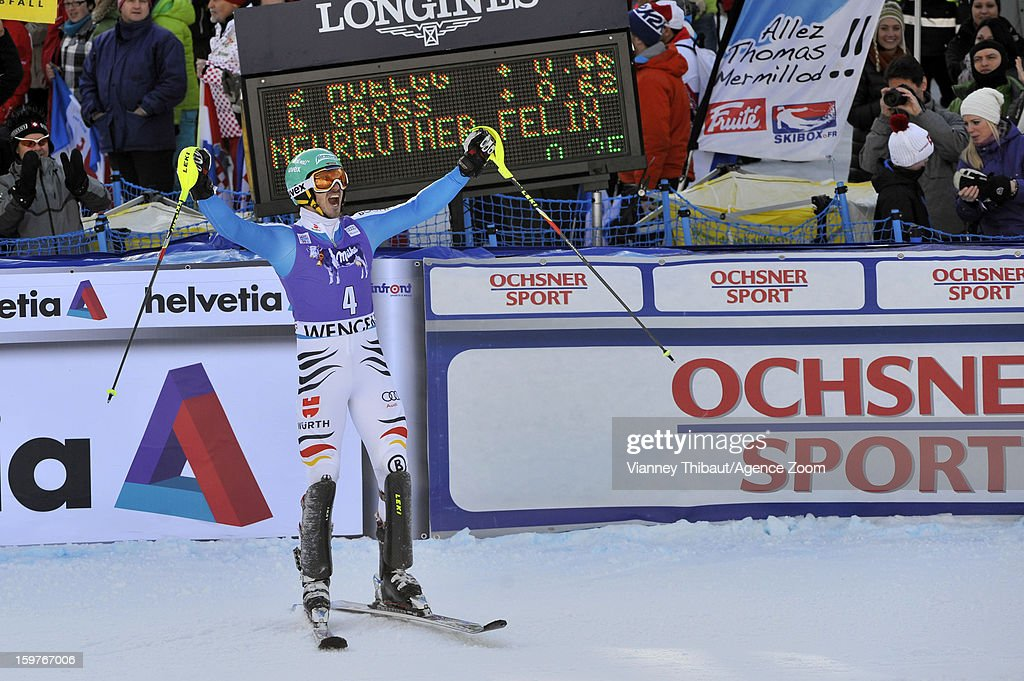 <a gi-track='captionPersonalityLinkClicked' href=/galleries/search?phrase=Felix+Neureuther&family=editorial&specificpeople=807800 ng-click='$event.stopPropagation()'>Felix Neureuther</a> of Germany takes 1st place during the Audi FIS Alpine Ski World Cup Men's Slalom on January 20, 2013 in Wengen, Switzerland.