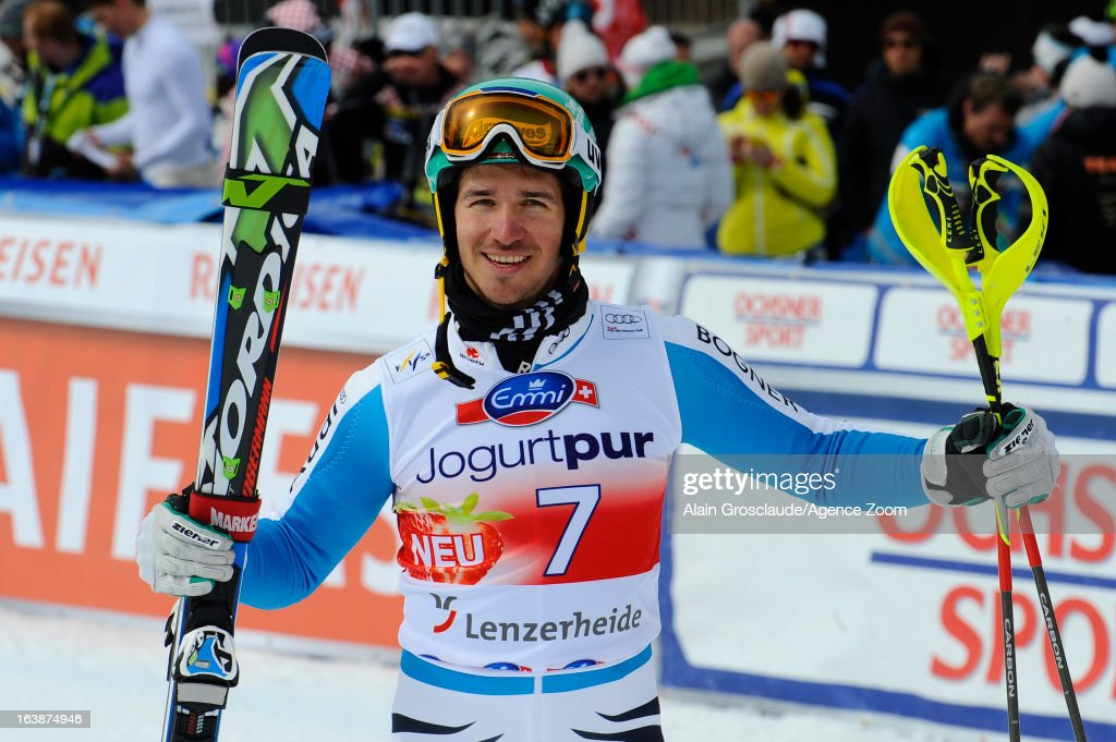 Felix Neureuther of Germany takes 1st place during the Audi FIS Alpine Ski World Cup Men's Slalom on March 17, 2013 in Lenzerheide, Switzerland.