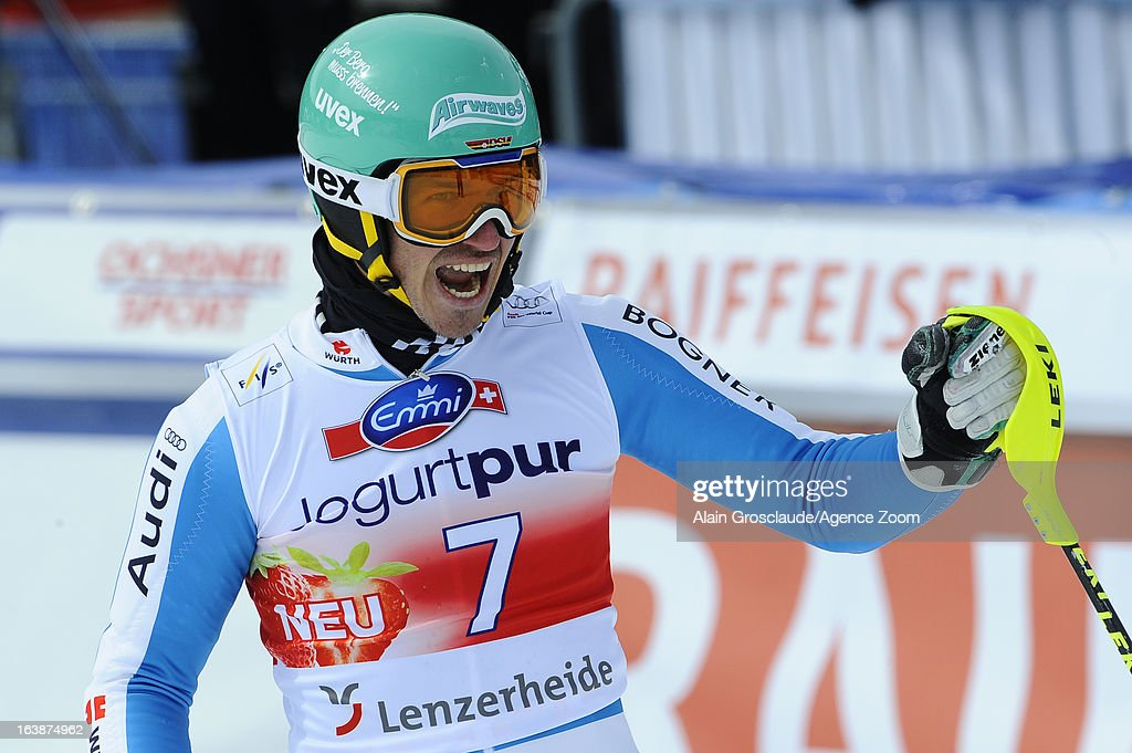 <a gi-track='captionPersonalityLinkClicked' href=/galleries/search?phrase=Felix+Neureuther&family=editorial&specificpeople=807800 ng-click='$event.stopPropagation()'>Felix Neureuther</a> of Germany takes 1st place during the Audi FIS Alpine Ski World Cup Men's Slalom on March 17, 2013 in Lenzerheide, Switzerland.