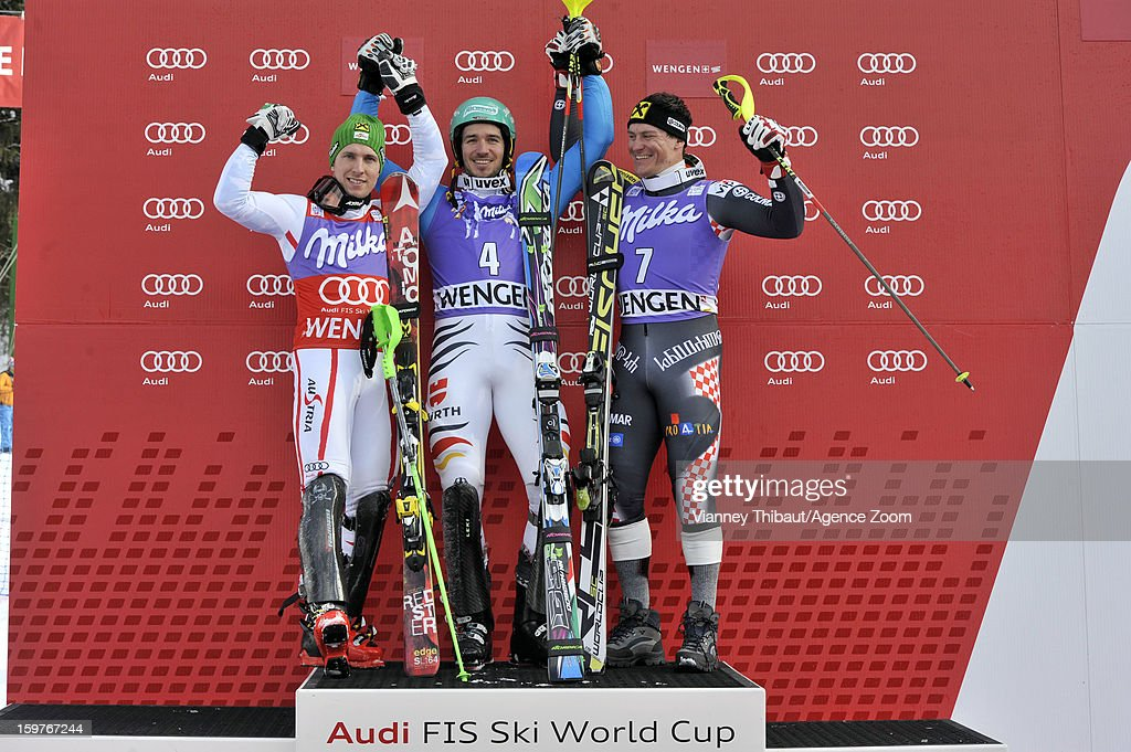 <a gi-track='captionPersonalityLinkClicked' href=/galleries/search?phrase=Felix+Neureuther&family=editorial&specificpeople=807800 ng-click='$event.stopPropagation()'>Felix Neureuther</a> of Germany takes 1st place, <a gi-track='captionPersonalityLinkClicked' href=/galleries/search?phrase=Marcel+Hirscher&family=editorial&specificpeople=4784559 ng-click='$event.stopPropagation()'>Marcel Hirscher</a> of Austria takes 2nd place, <a gi-track='captionPersonalityLinkClicked' href=/galleries/search?phrase=Ivica+Kostelic&family=editorial&specificpeople=241265 ng-click='$event.stopPropagation()'>Ivica Kostelic</a> of Croatia takes 3rd place during the Audi FIS Alpine Ski World Cup Men's Slalom on January 20, 2013 in Wengen, Switzerland.