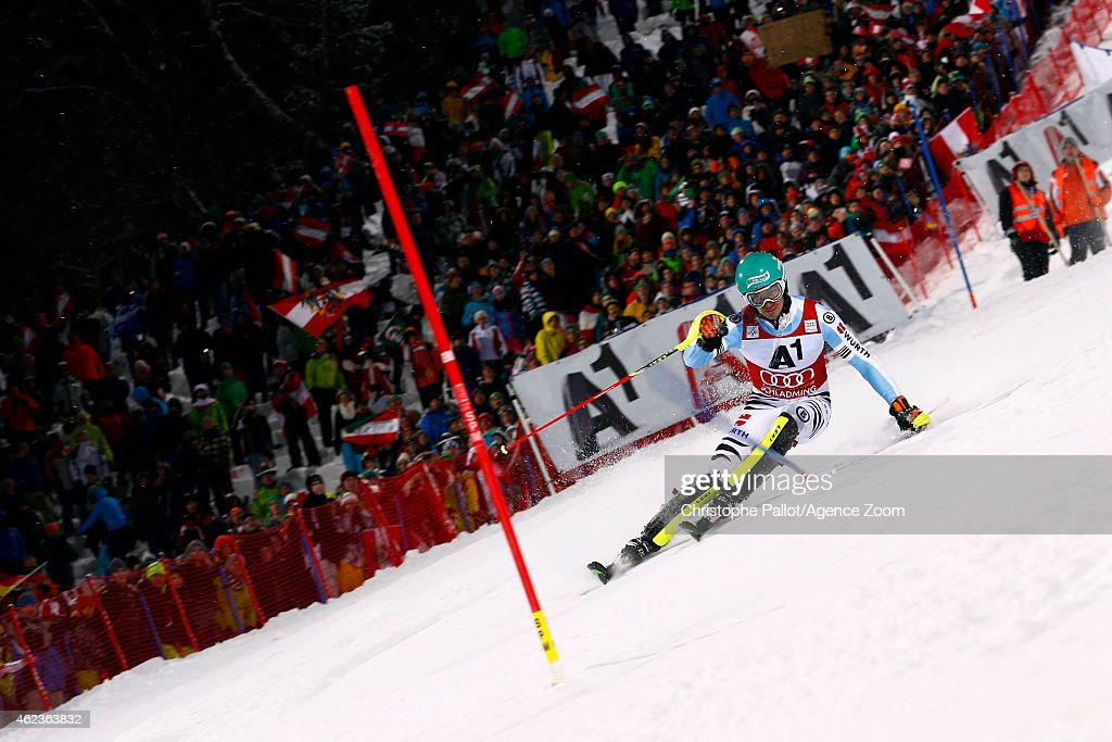 Felix Neureuther of Germany takes 3rd place during the Audi FIS Alpine Ski World Cup Men's Slalom on January 27 2015 in Schladming Austria