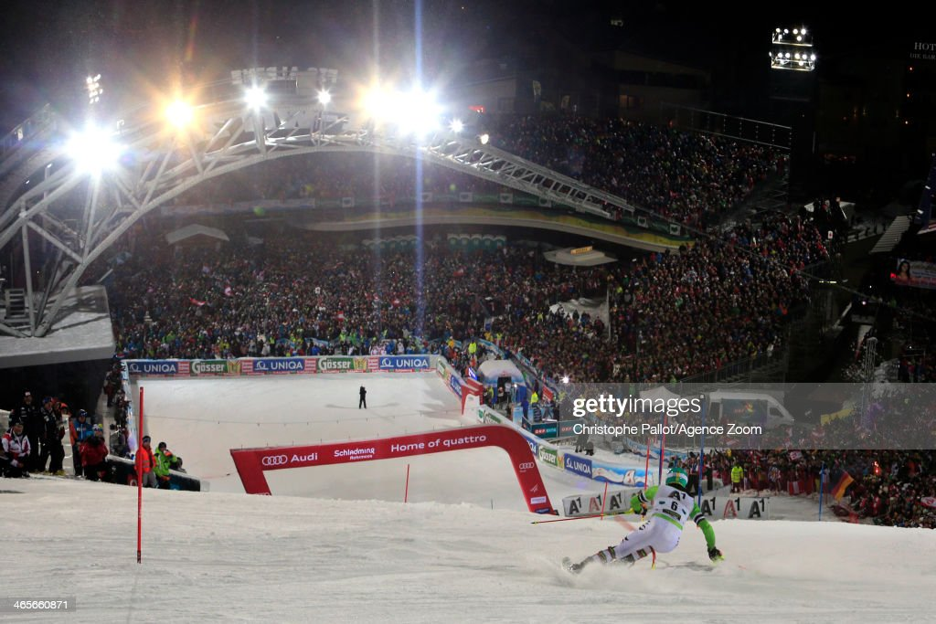 Felix Neureuther of Germany takes 3rd place during the Audi FIS Alpine Ski World Cup Men's Slalom on January 28 2014 in Schladming Austria