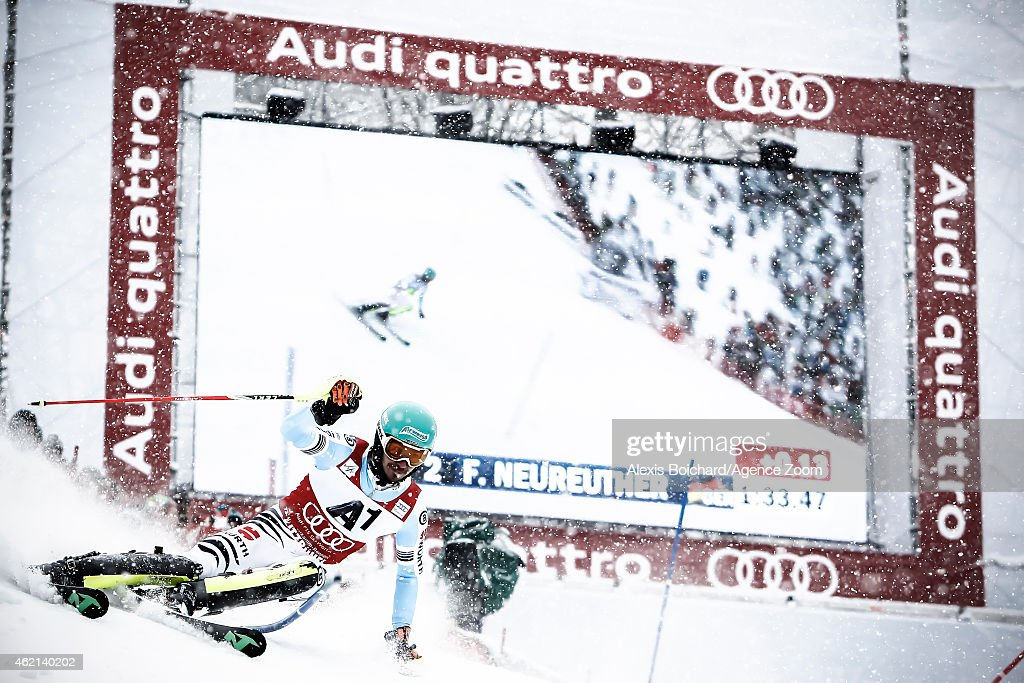 Felix Neureuther of Germany takes the 2nd place during the Audi FIS Alpine Ski World Cup Men's Slalom on January 25 2015 in Kitzbuehel Austria