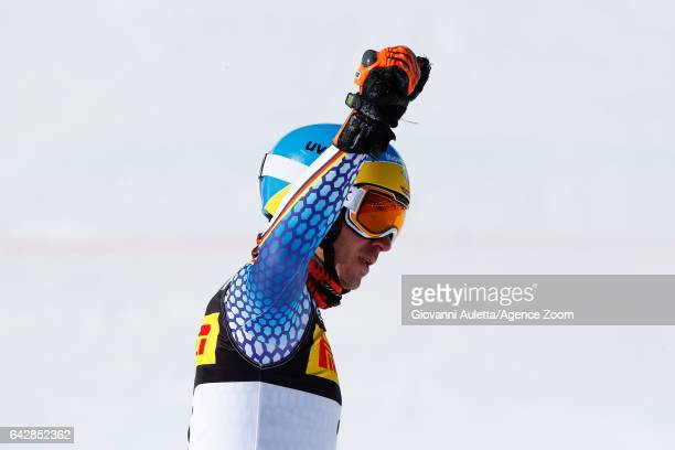 Felix Neureuther of Germany wins the bronze medal during the FIS Alpine Ski World Championships Men's Slalom on February 19 2017 in St Moritz...