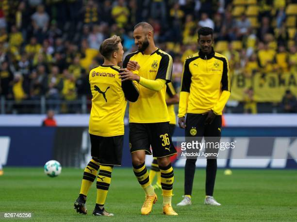 Felix Passlack and Omer Toprak of Borussia Dortmund are seen ahead of the DFL Super Cup 2017 final match between Borussia Dortmund vs Bayern Munich...