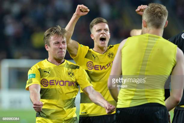 Felix Passlack Dzenis Burnic of Dortmund celebrates the Championship win after the final whistle during the U19 German Championship Final match...