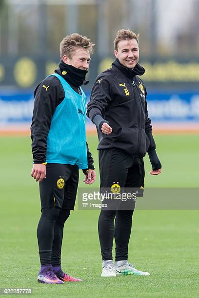Felix Passlack of Borussia Dortmand and Mario Goetze of Borussia Dortmand during a training session on November 06 2016 in Dortmand Germany