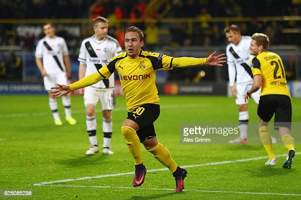 Felix Passlack of Borussia Dortmund celebrates scoring his teams seventh goal during the UEFA Champions League Group F match between Borussia...