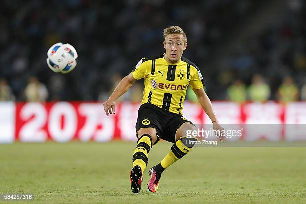 Felix Passlack of Borussia Dortmund contests the ball during the 2016 International Champions Cup match between Manchester City and Borussia Dortmund...